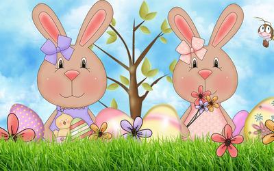 Easter bunnies wallpaper
