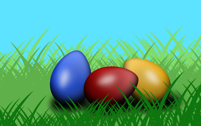 Easter egg in the grass wallpaper