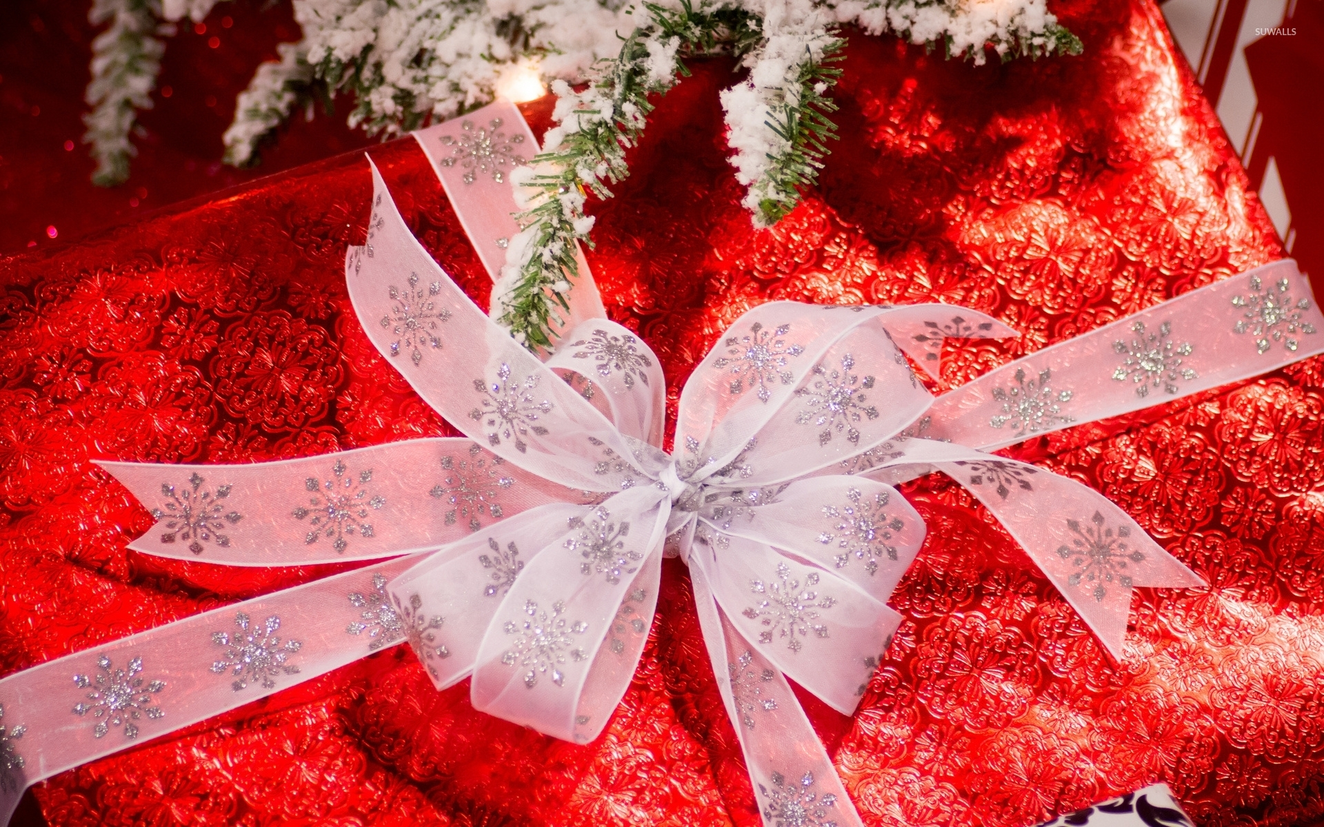 Gift under the snowy Christmas tree wallpaper - Holiday wallpapers ...