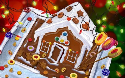 Gingerbread house and candies under the Christmas lights wallpaper