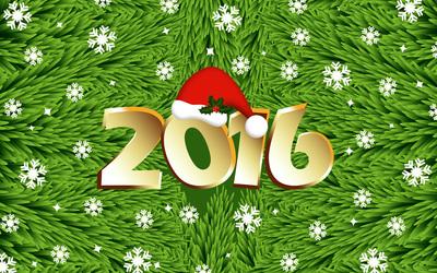 Golden 2016 on the fir branches wallpaper