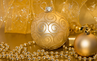 Golden baubles and ribbons wallpaper 3840x2160 jpg