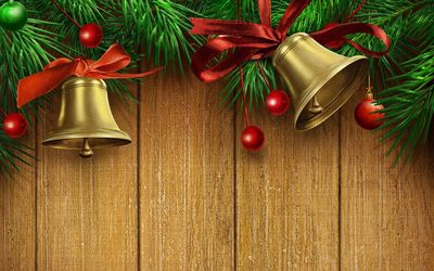 Golden bells with red bows wallpaper