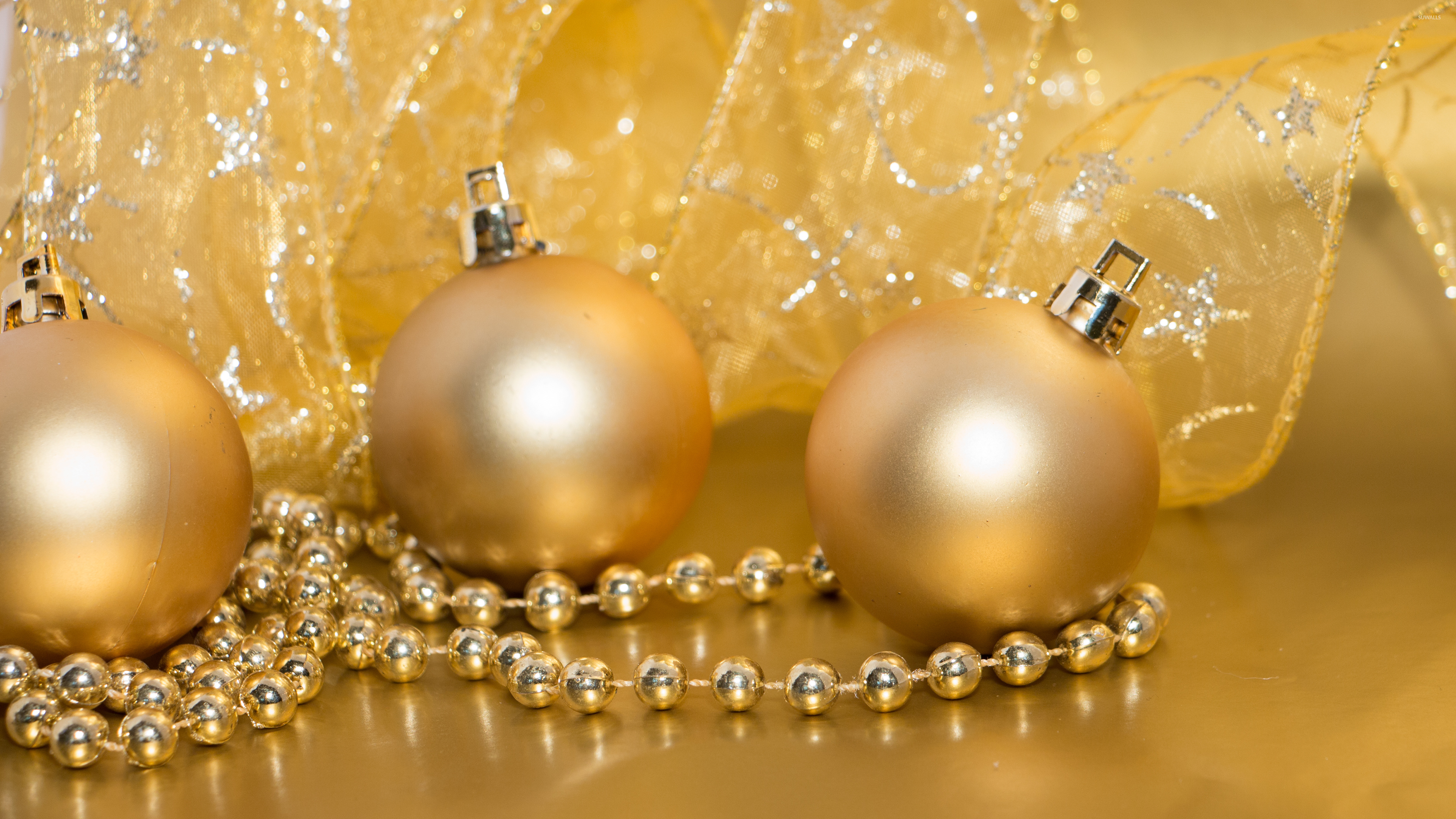 Golden Christmas decorations wallpaper - Holiday wallpapers - #51279