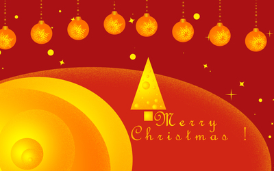 Golden Christmas tree and baubles wallpaper