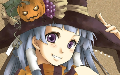 Gray haired witch with a hat wallpaper