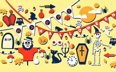 Halloween decoration assortment Wallpaper