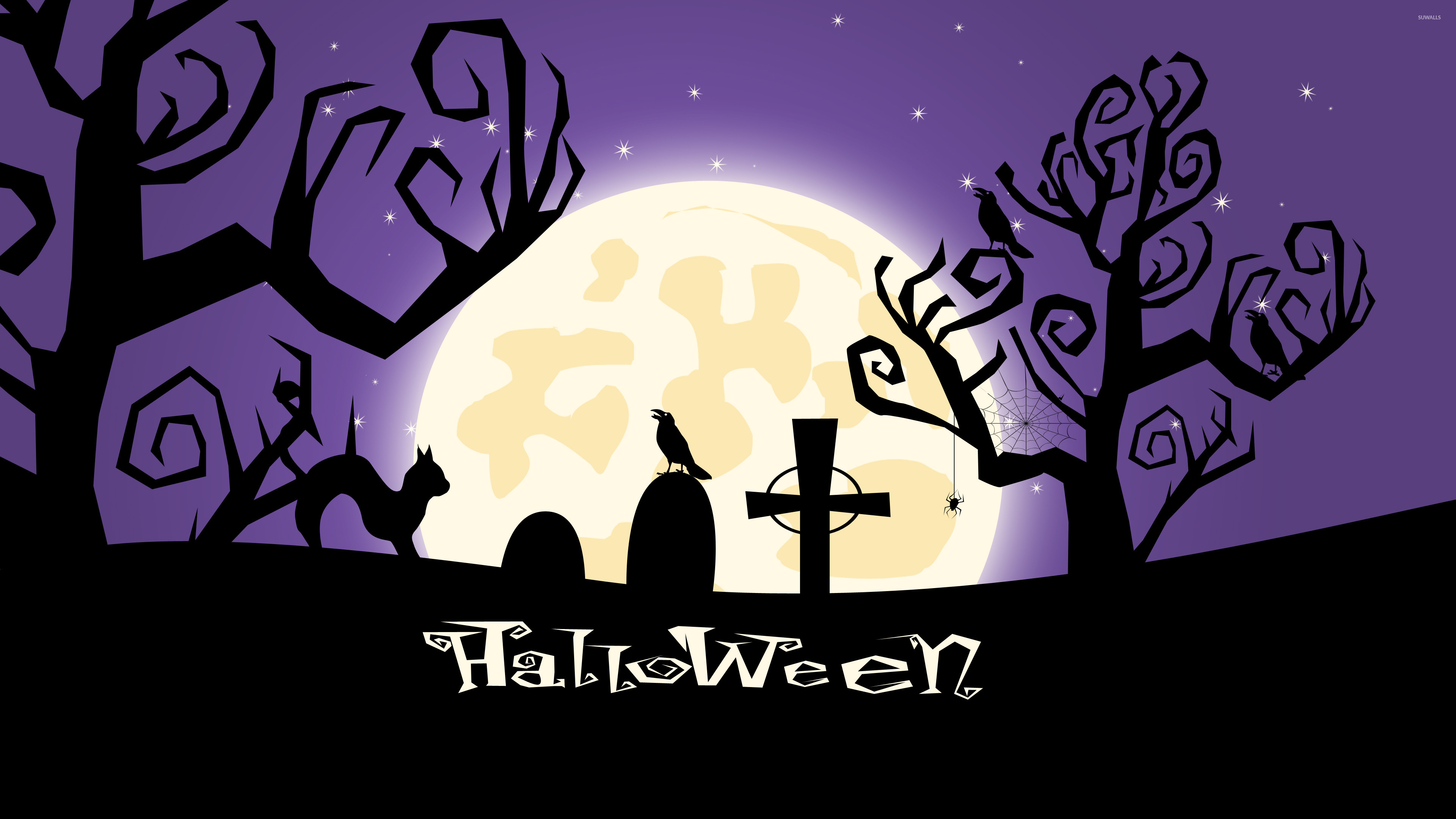 Halloween night in the graveyard wallpaper - Holiday wallpapers ...