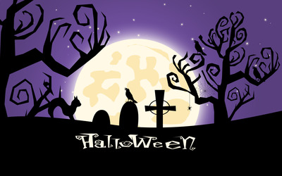Halloween night in the graveyard wallpaper