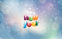 Happy New Year between glowing snowflakes wallpaper 1920x1200 jpg
