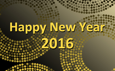 Happy New Year on golden sparly circles wallpaper