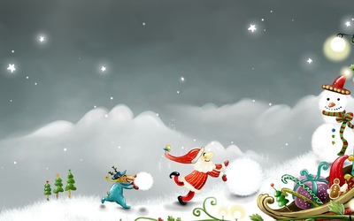 Happy Santa building a snowman wallpaper