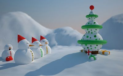 Happy snowman family by the Christmas tree wallpaper