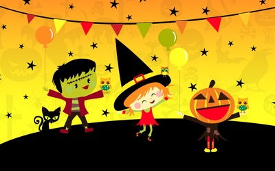 Happy trick-or-treaters Wallpaper