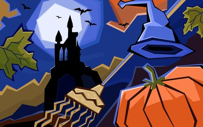 Haunted Halloween castle wallpaper