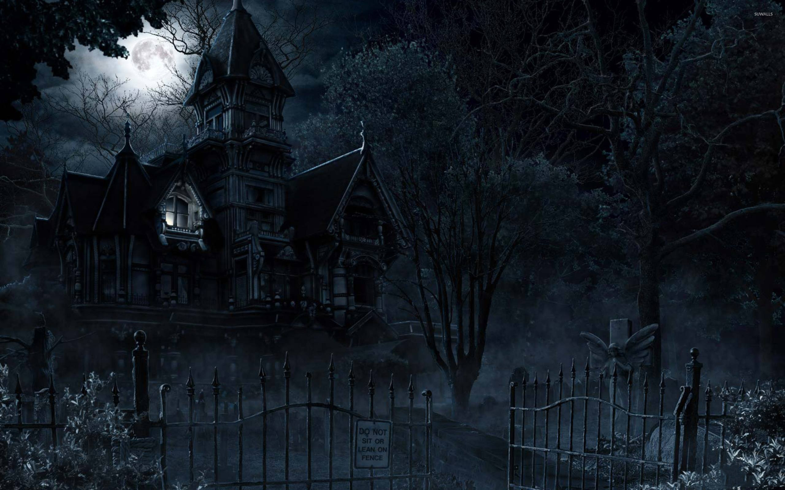 haunted mansion in the full moon wallpaper - holiday wallpapers - #48844
