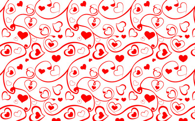 Heart and swirl pattern wallpaper