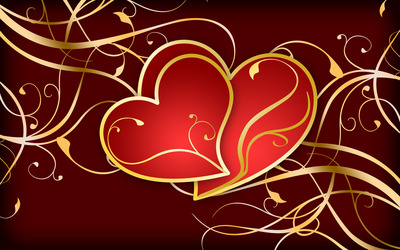 Hearts on golden swirls wallpaper