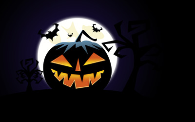 Jack-o'-lantern on Halloween night wallpaper