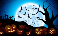 Jack-o'-lanterns in the blue full moon wallpaper 3840x2160 jpg