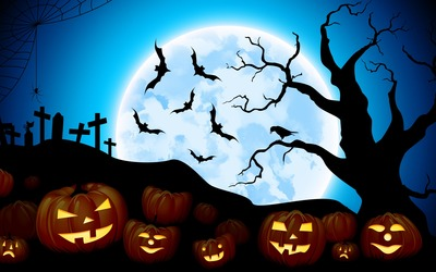 Jack-o'-lanterns in the blue full moon wallpaper