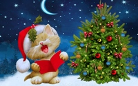 Kitten singing carols by the Christmas tree wallpaper 3840x2160 jpg