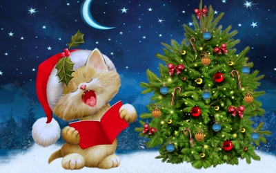 Kitten singing carols by the Christmas tree wallpaper