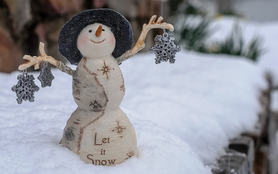 Let it snow snowman with silver snowflakes wallpaper