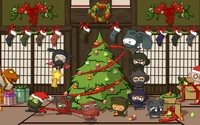 Ninjas decorating a Christmas tree wallpaper 1920x1080 jpg