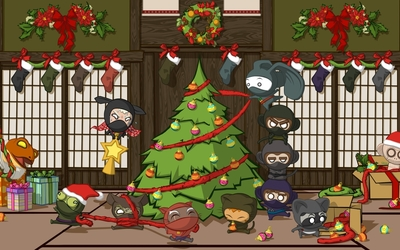 Ninjas decorating a Christmas tree wallpaper
