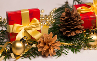 Ornaments on fir branches wallpaper 3840x2160 jpg