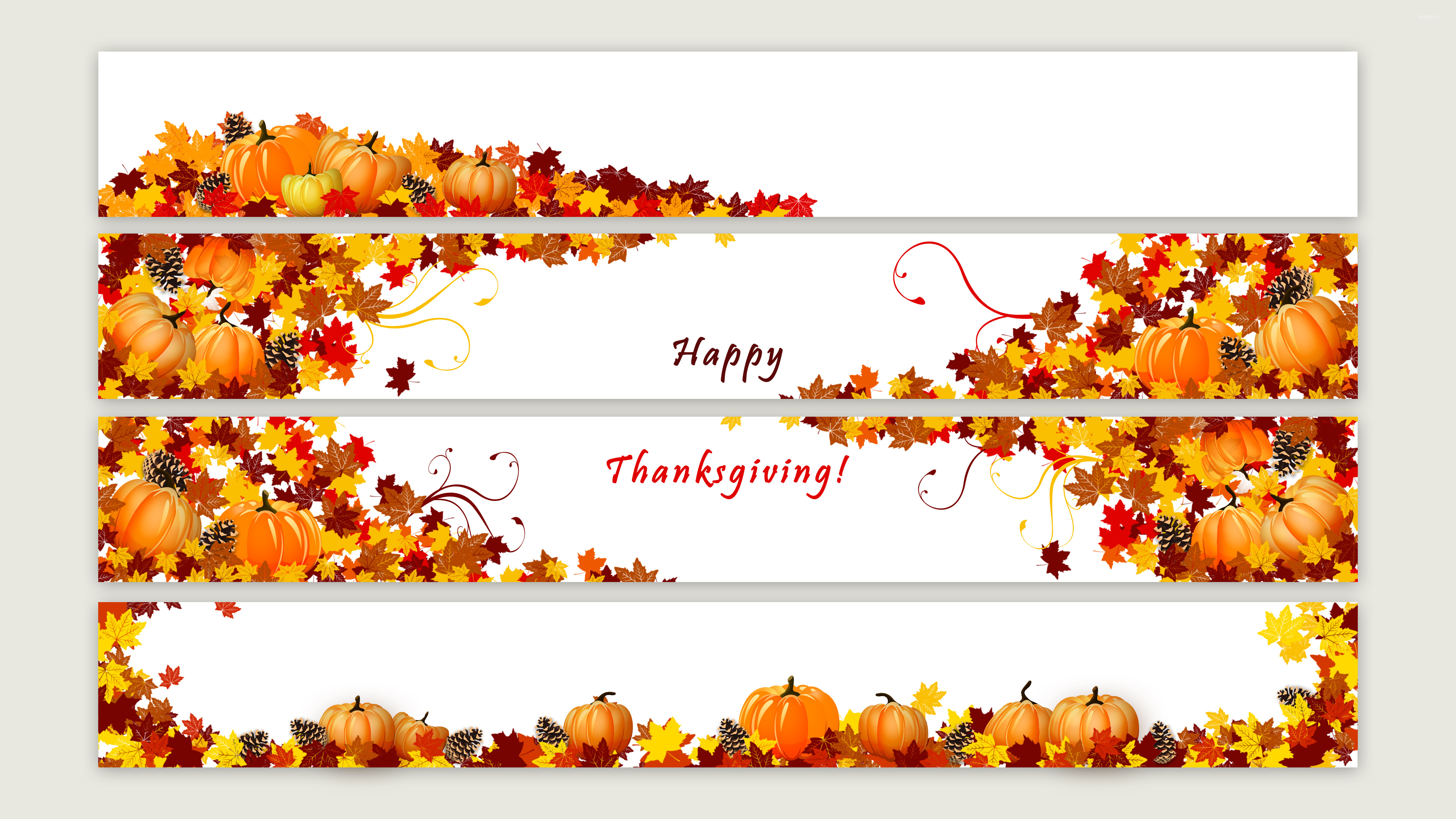 Pumpkins and cones in the autumn leaves wallpaper Holiday