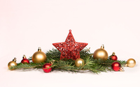 Red and golden baubles on fir branches wallpaper 3840x2160 jpg