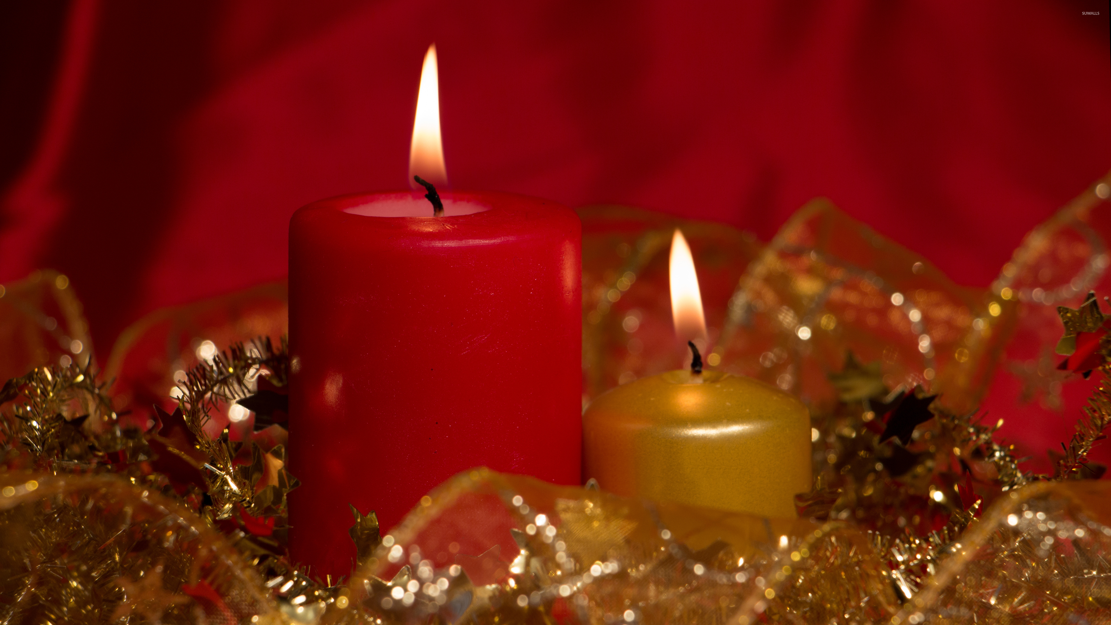 Red And Golden Christmas Candles Wallpaper Holiday
