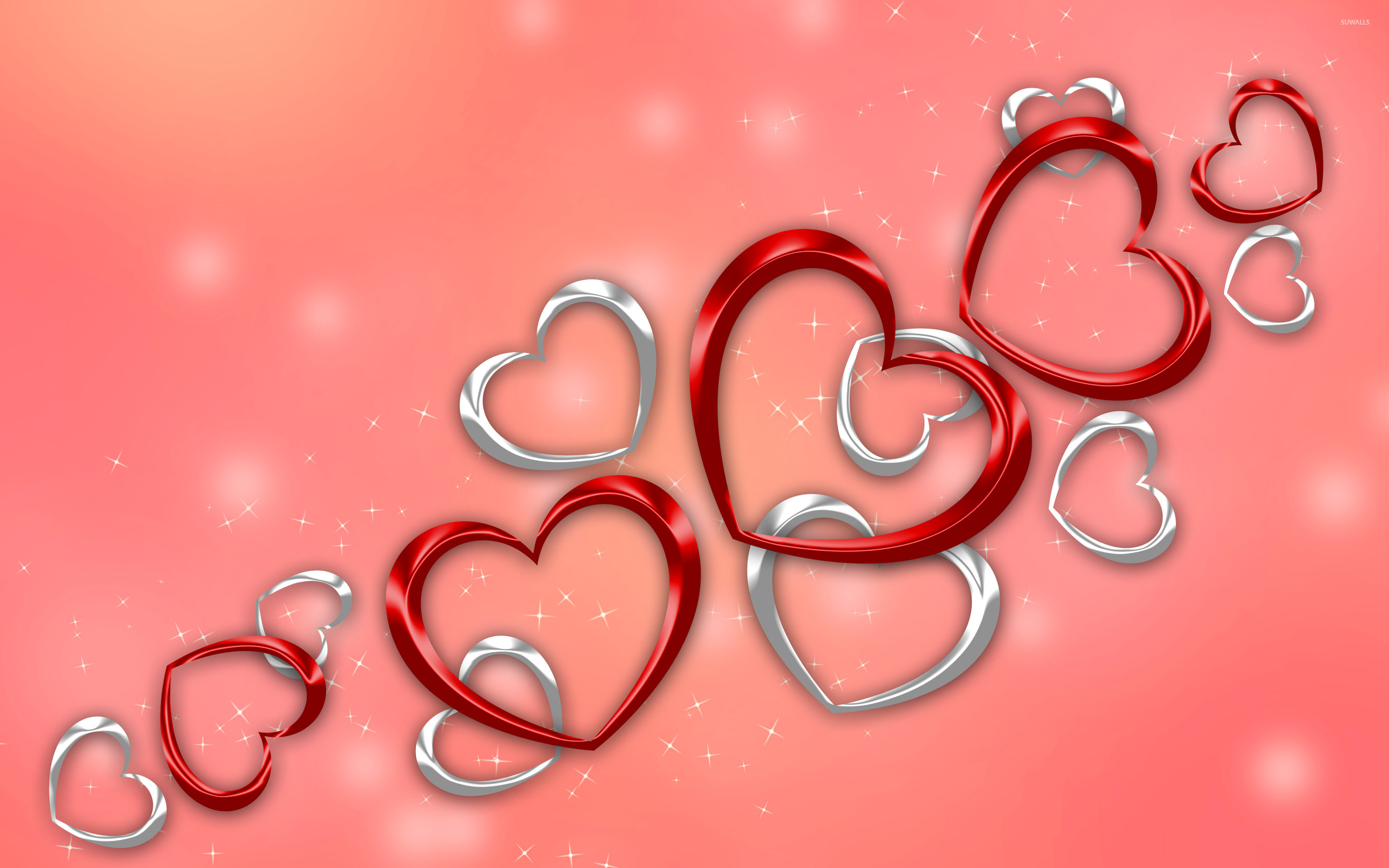 Red And Silver Hearts Wallpaper Holiday Wallpapers 26797