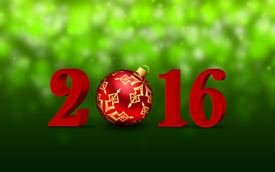 Red bauble in 2016 wallpaper