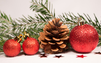 Red baubles and cone on a fir branch wallpaper 3840x2160 jpg