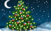 Red baubles with blue bows in the Christmas tree wallpaper 1920x1200 jpg