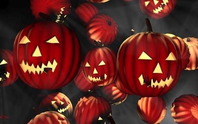 Red floating jack-o'-lanterns wallpaper
