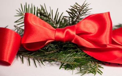 Red ribbon on fir branches wallpaper