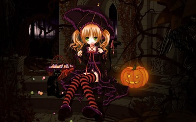 Redhead in a witch costume Wallpaper