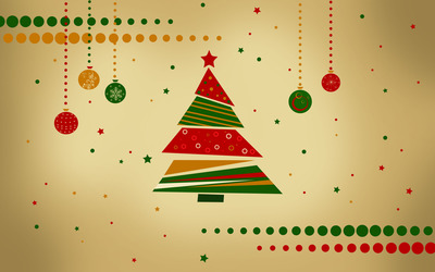 Retro Christmas tree wallpaper