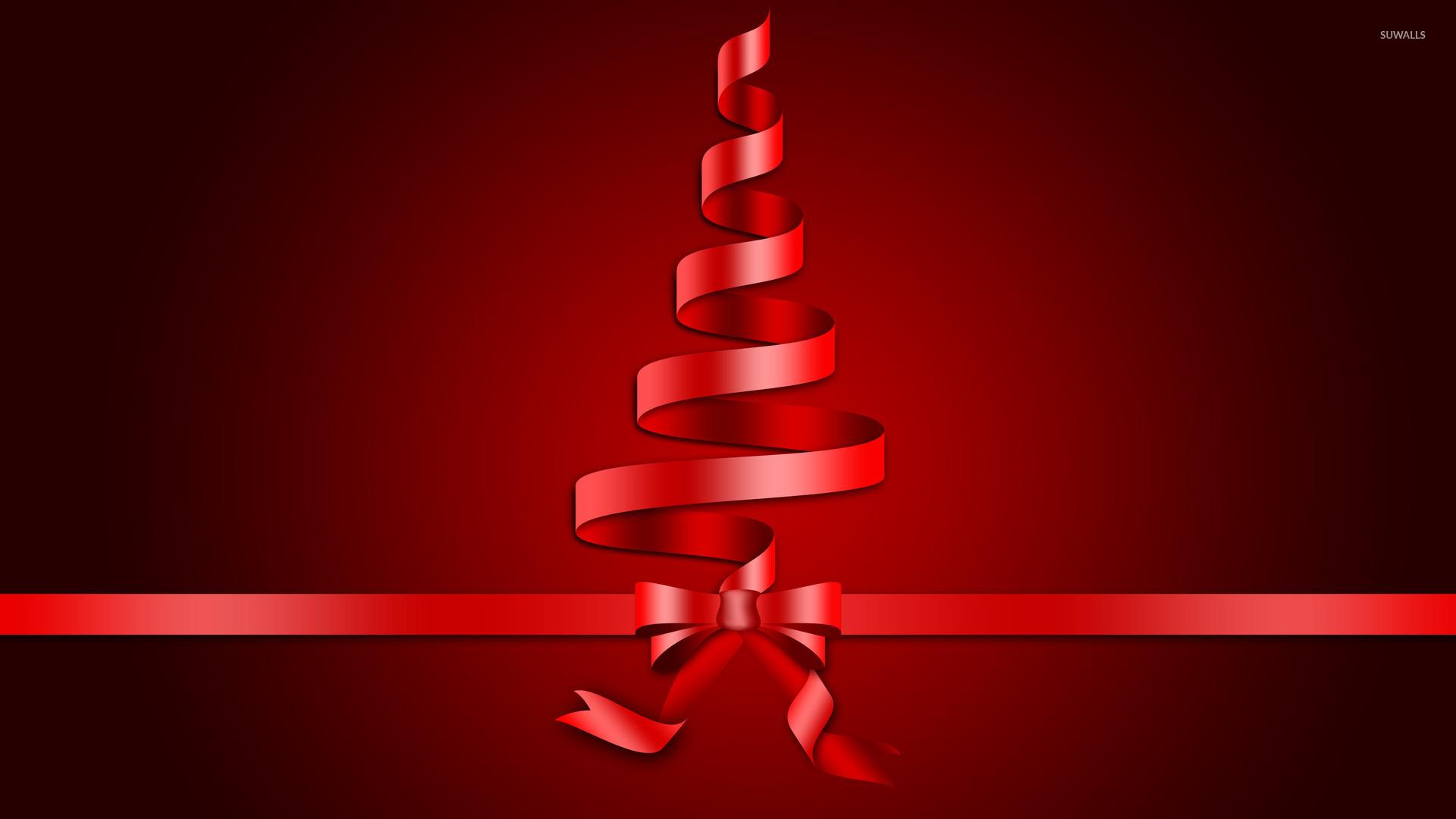 Ribbon christmas tree wallpaper holiday wallpapers 25805