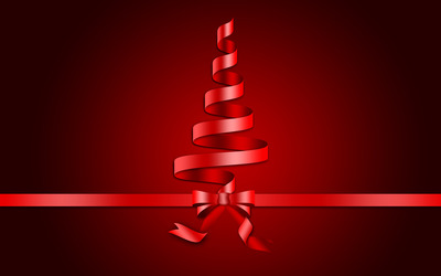 Ribbon Christmas tree wallpaper
