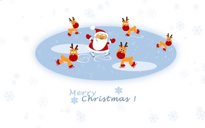 Santa and the reindeers on ice wallpaper