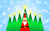 Santa Claus and Christmas trees wallpaper 3840x2160 jpg