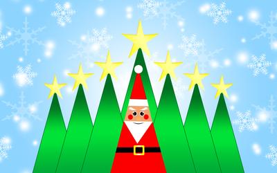 Santa Claus and Christmas trees wallpaper