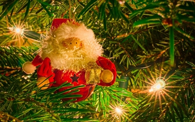Santa Claus decoration in the Christmas tree wallpaper