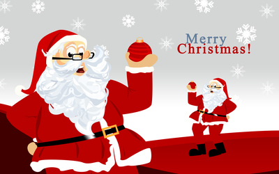 Santa Claus holding a Christmas bauble in his hand wallpaper