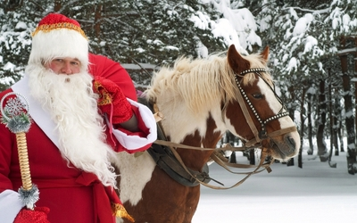 Santa Claus with a horse wallpaper